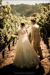 Wedding photography in the  Napa wine valley in CA at Brix Restaurant