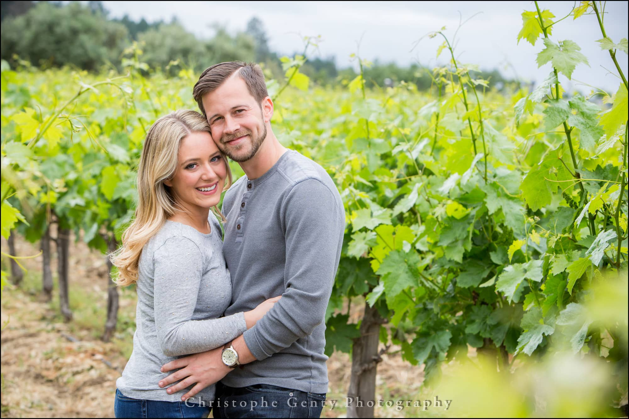 Engagement Photography in the vineyards at Castello di Amorosa in The Napa Valley, CA