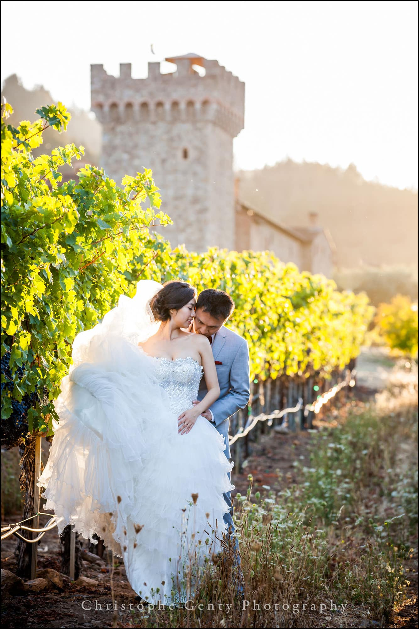 Pre-wedding photography at the Castello Di Amorosa in The Napa Valley